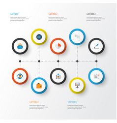 job flat icons set collection of developer pie vector image