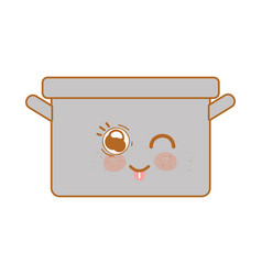 kawaii nice happy cooking pot vector image
