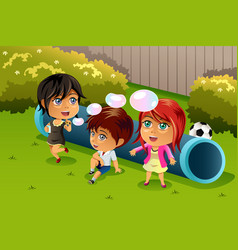 kids playing bubbles vector image