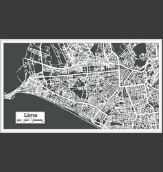 lima peru city map in retro style outline map vector image