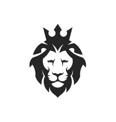 lion head with crown vector image