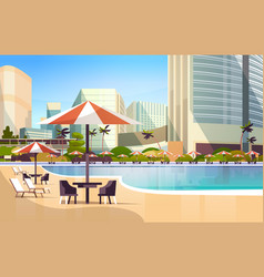 Luxury city hotel swimming pool resort with vector