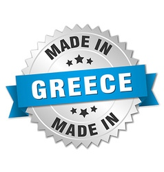 Made in Greece silver badge with blue ribbon vector