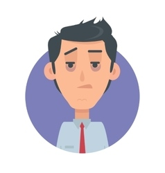 Man Avatar Web Button Indifferent Male Emotion vector