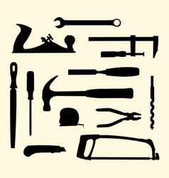 mechanic hand tools kit silhouette vector image