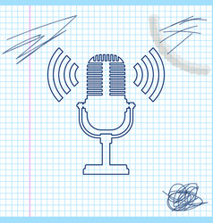 microphone line sketch icon isolated on white vector image