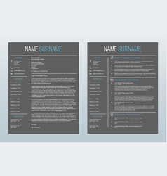 Minimalist cover letter and resume template vector