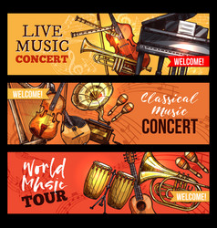 Music concert banners sketch instruments vector
