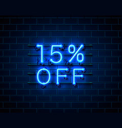 neon 15 off text banner night sign vector image