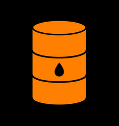 oil barrel sign orange icon on black background vector image