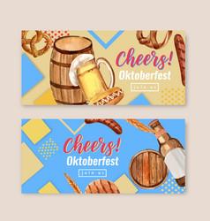 Oktoberfest banner design with beer bucket vector