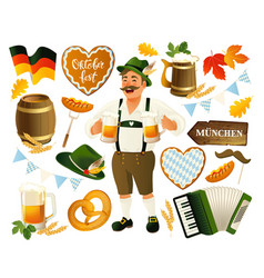oktoberfest set isolated on a vector image