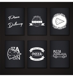pizza delivery the food and service labels vector image