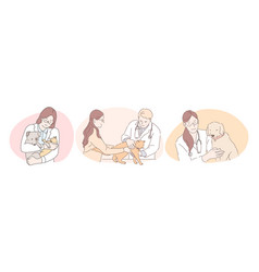 professional veterinarian with pets during work vector image