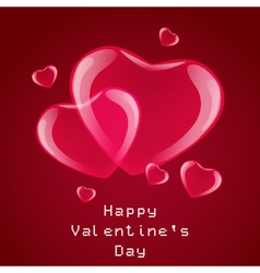 Red hearts card on a red background vector