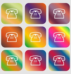 Retro telephone handset icon nine buttons vector