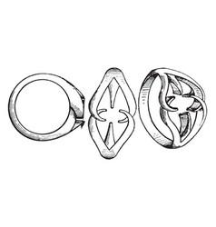 Ring setting is a circular band vintage engraving vector