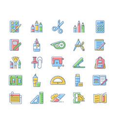 school supplies rgb color icons set vector image
