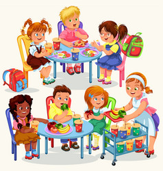 schoolchildren having lunch vector image