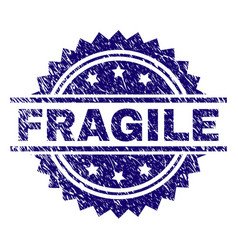 Scratched textured fragile stamp seal vector