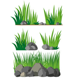 Seamless background with grass and rocks vector