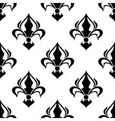 Seamless floral pattern with abstract black lilies vector image
