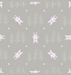 seamless pattern funny cartoon white rabbit in vector image
