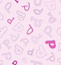 Seamless pattern with character P vector