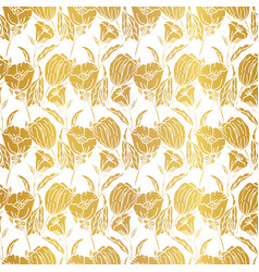 seamless pattern with gold leaf autumn leaves vector image
