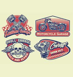 Set bagde design vintage motorcycle vector
