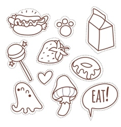 Set cartoon patch badges or fashion pin vector image