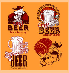 set craft beer and vikings logo - vector image