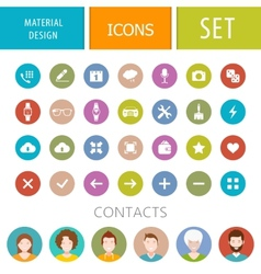 set icons in style material design vector image