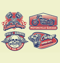 Set of bagde design vintage motorcycle vector
