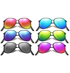 Set of different designs of sunglasses vector image