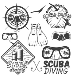 Set of scuba diving center labels in vector