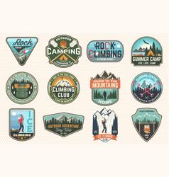 set rock climbing club and summer camp badges vector image