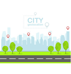 smart city with pin navigation urban landscape vector image