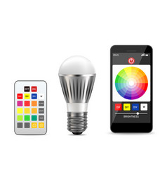 smart light bulb realistic isolated vector image