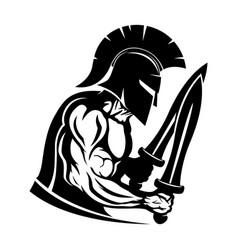 Spartan warrior with two swords vector