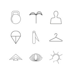 sport and wellness linear icon set simple outline vector image