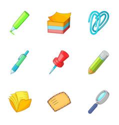stationery icons set cartoon style vector image