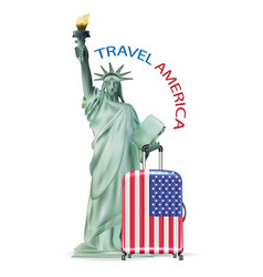 statue liberty with america usa flag luggage vector image