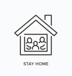 Stay home domestic quarantine line icon vector