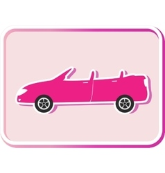 Sticker with cabriolet image vector