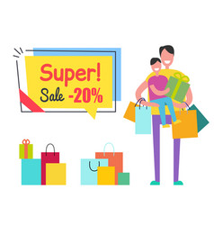 super sale promo sticker tag man son shopping bag vector image