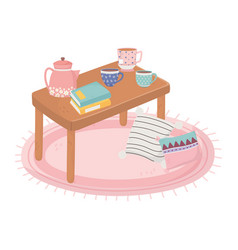 sweet home table with coffee tea cups kettle books vector image
