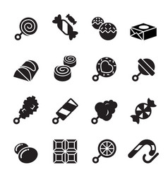 Sweets and candies icons vector