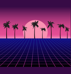 synth wave retro grid background synthwave 80s vector image