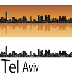 Tel Aviv skyline in orange background vector image